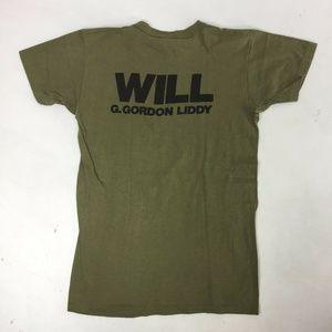 Vintage Shirts - G. GORDON LIDDY Vtg T-shirt Green 80's S Watergate